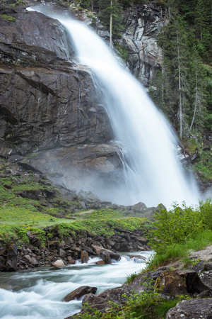 Close up view on Krimml Waterfalls in High Tauern National Park Austria, Stock Photo