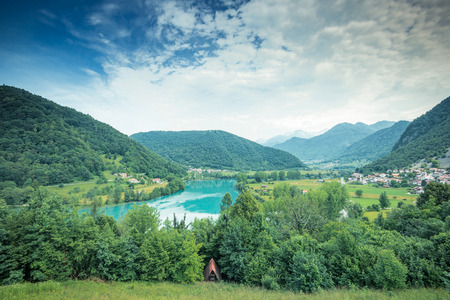 Panoramic view over Most na Soci emerald green waters,Slovenia.