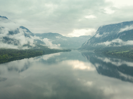 Aerial drone view of Bohinj Lake in Slovenia after storm. Imagens