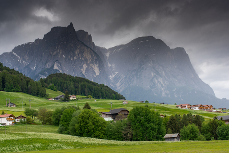 Magnificent scenery in the Dolomites. Summer in the Alpe di Siusi. Italy