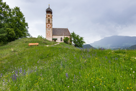 St. Konstantin, Voels, Church in Alpe di Siusi, Italy. Stock Photo