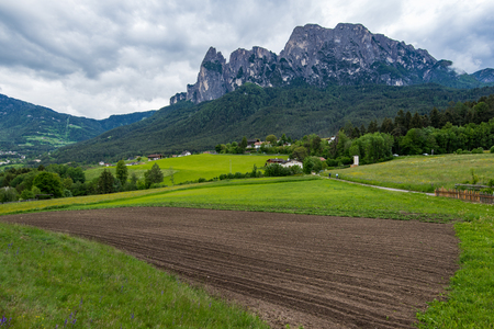 Amazing view of the Alpine mountains. Alpe di Siusi, Dolomites. Italy Stock Photo
