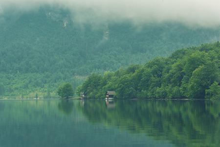 Serenity at Bohinj Lake in Slovenia Triglav Park.