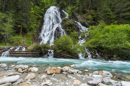 Staniskabach waterfall near Glossglockner in Austria Alps.