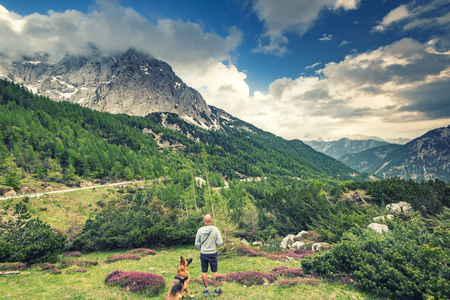 Man with dog looking at Triglav Mountain in Julian Alps, Slovenia. Imagens - 103454523