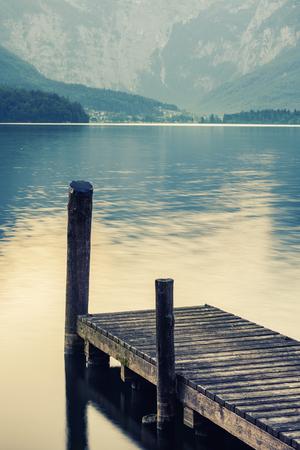 Sunrise over Hallstatter lake, Austria.