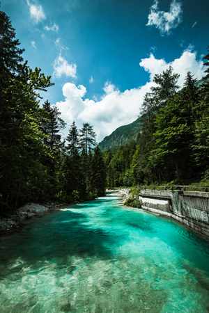 Emerald green water of Soca river, Slovenia. 스톡 콘텐츠