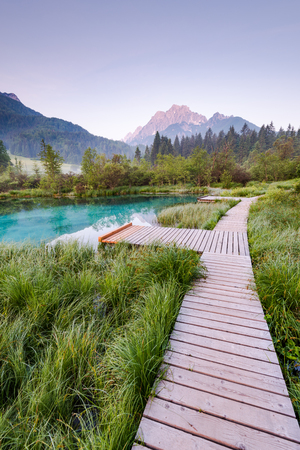 Wooden bridge in Zelenci parkland, Slovenia. Stock Photo