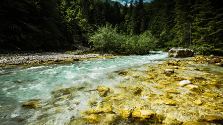 Clear water in mountains river.