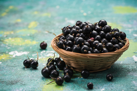 Fresh ripe blackcurrant in basket. Stok Fotoğraf