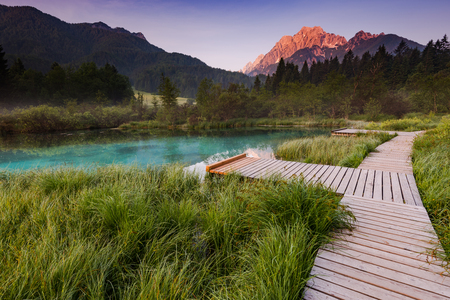 Sunrise in Zelenci Park, Slovenia.
