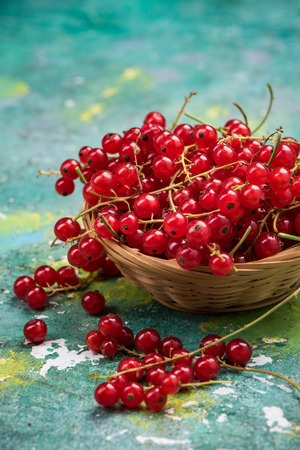 Basket with fresh ripe redcurrant. Stockfoto - 104544156
