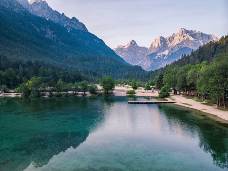 Beautiful sunrise at lake Jasna in Slovenia Triglav Park.