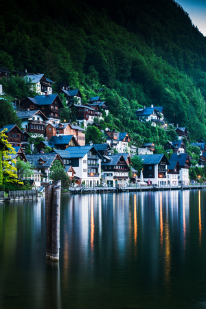 Famous Hallstatt village in Austria by the lake. Stock Photo