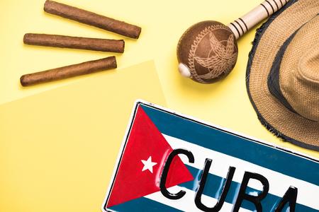 Vacation in Cuba, conceptual flat lay background. Foto de archivo