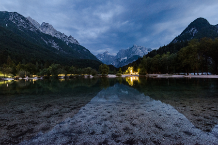 Alpine Lake Jasna near Kranjska Gora in Slovenia at night