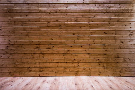 Wooden wall background with floor leading perspective