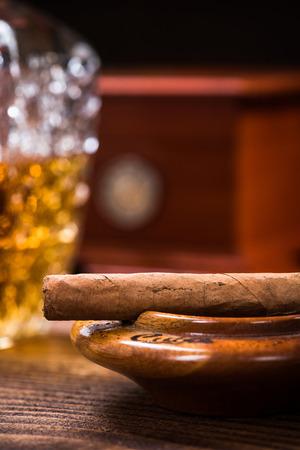 Cuban cigar on vintage ashtray