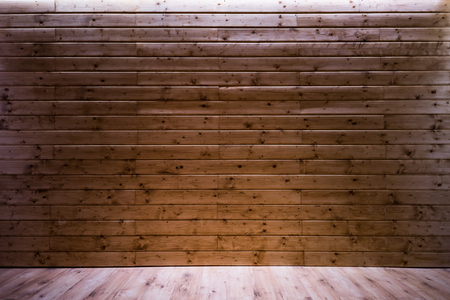 wooden wall backdrop template with lighting and floor. Stock Photo