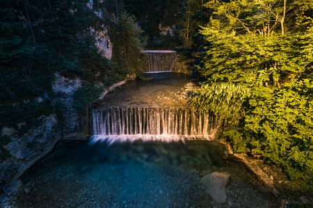 Waterfall in Slovenia Triglav Park near Kranjska Gora. Imagens