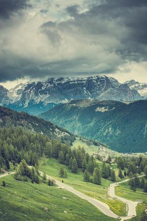 Gardena Pass in Italian Dolomites mountains Stock Photo