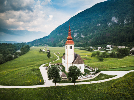 Aerial view over Church in rural Slovenia