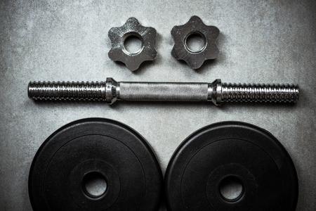 gym equipment on stone floor, copy space Banco de Imagens