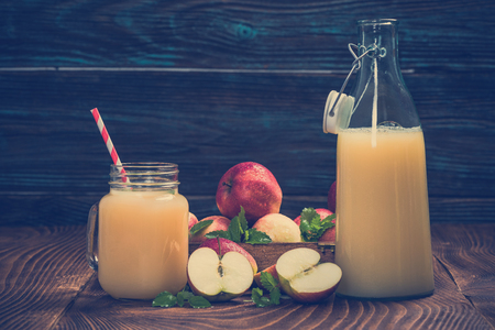 Natural homemade apple juice, pressed and cloudy