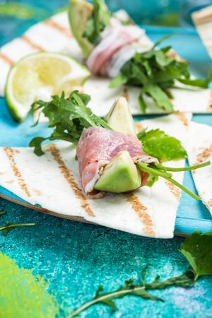 Mexican style healthy brunch, avocado