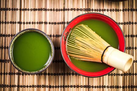 Green Matcha tea in japanese bowls, top view Reklamní fotografie