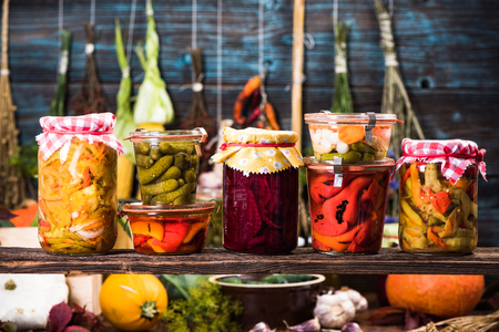 Variety of Marinated Pickled and Fermented vegetables food in jars