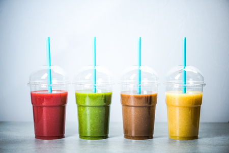 Healthy diet smoothie in four colors Stock Photo