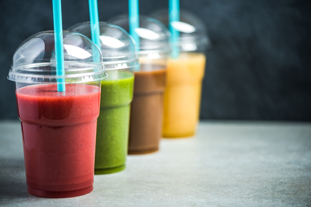 Colorful smoothie selection, selective focus, food background Stok Fotoğraf - 106235115