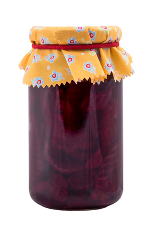 Jar with fermented beetroot food, isolated on white Banco de Imagens