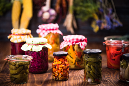 Jars variety Pickled Marinated Vegetables