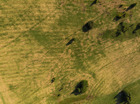 Top down view over pasture and green hills