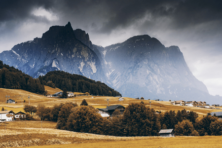 View over Seiser Alm meadow at autumn