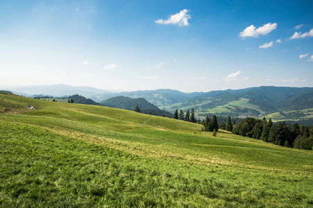 Panoramic view at green hills in Pieniny mountains,Poland