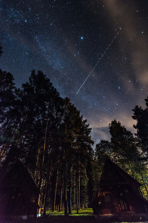 Meteor shower and milky way seen from camping outdoor.