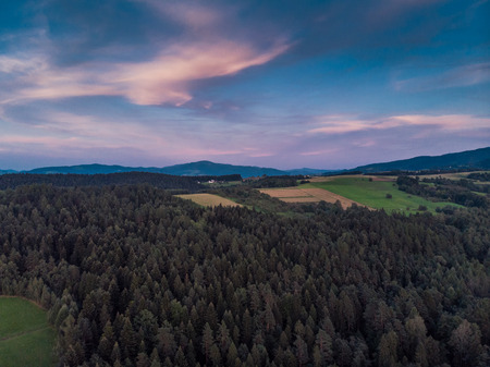 Sunset over woodlan, aerial drone view