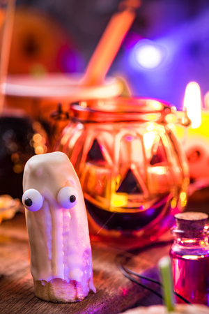 Funny banana ghost, Helloween kids party food.