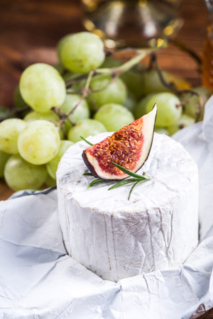 Piece of Blue Cheese with fig. Stock fotó