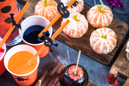 Colorful food at Halloween kids party.