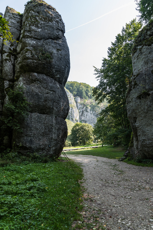 Cracow Gate rock formation in Ojcow National Park, Krakow,Poland. Stock Photo