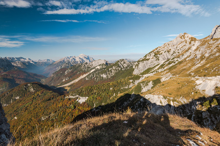 Scenic view from Mangart saddle over Julian Alps in Slovenia Banco de Imagens