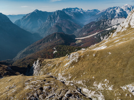 Aerial view on Julian Alps from Mangart.