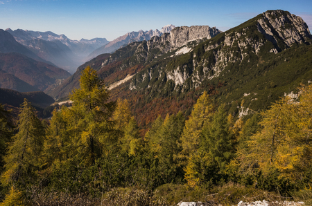 Scenic view from Mangart pass in Slovenia Alps.