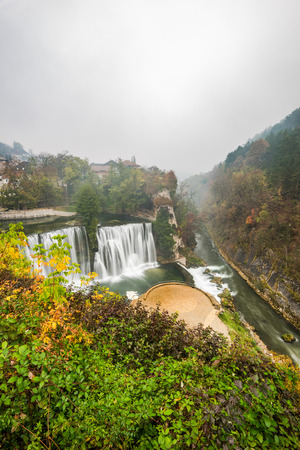 Ancient city of Jajce and waterfall, Bosnia and Herzegovina.