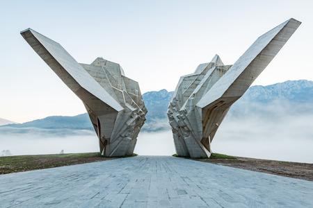 Tjentiste World War II monument, Bosnia. Stok Fotoğraf - 111422861
