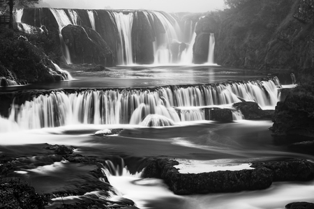 Black and White image of Strbacki buk waterfall in Bosnia. Imagens